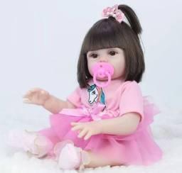 Boneca bebê Reborn Menina toda de Silicone que faz pipi 49 cm