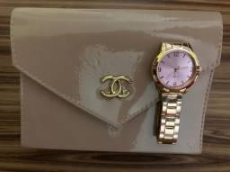 Bolsa feminina + relógio