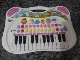 Título do anúncio: Piano Musical Teclado Fazendinha Animal Rosa - Braskit
