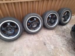 Jogo de rodas aro 15 pneus 195 50 Furacão fiat