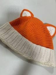 Touca de raposa tricot