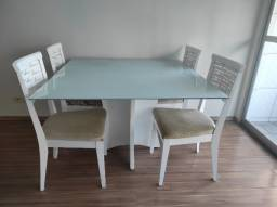 Título do anúncio: Mesa de vidro temperado branco para sala