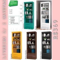 Livreiro estante com 2 gavetas