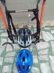 Título do anúncio: Suporte transbike, suporte parede e capacetes