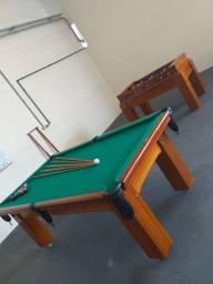 Mesa Madeira de Sinuca e Bilhar Cor Imbuia Tecido Verde Mod. GONC3943