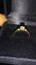 Promoção anel noivado com diamantes ouro