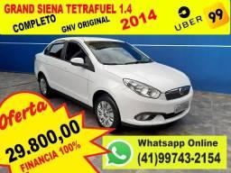 Fiat Grand Siena 1.4 2014 Tetrafuel - Completo - Bom para UBER - Aceito Troca - Financio - 2014
