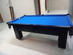Mesa Charme Bilhar Cor Preta Tecido Azul Mod. XZUS9433