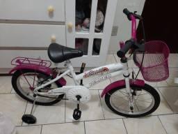Bicicleta Infantil Aro 16 Breeze Branco E Pink