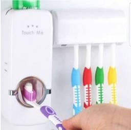Dispenser aplicador creme dental com suporte de escovas