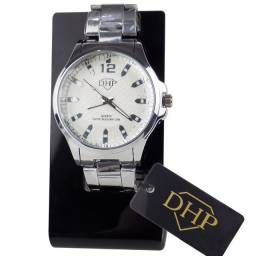 Relógio Analógico Feminino Dhp Quartz Rdh3 a Prova D'água Pulseira em Aço Prata