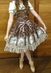 Vestido lolita (JSK) Infanta Sleeping Beauty e bonnet + blouse, anágua, meias e botas