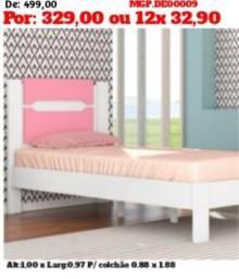 Cama de Solteiro Branco e Branco- Cama Infantil- Rosa-Princesas-Saldão
