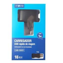 Título do anúncio:  Carregador USB 18w Tipo C Inova CAR-9001