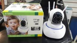 Camera Segurança 3 Antenas Robo Ip Wifi 360º 720p Hd Noturno