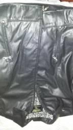 Jaqueta de couro legítimo marca Javali - tamanho M