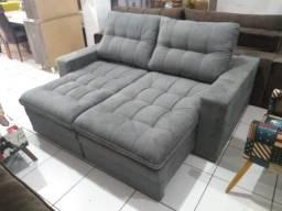 Sofa reto retrátil e reclinável todo em fibra siliconada