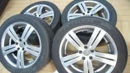 """Jogo de rodas aro 17"""" 5x100 golf - corola - spacefox com pneus semi novos"""