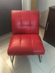 Sofá Poltrona Vermelha pés inox
