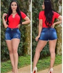 Shorts Jeans Rasgado Cintura Alta Feminino