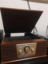Vitrola toca disco multifuncional MP3 oba retro nova