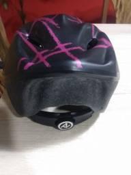 Capacete bicicleta tamanho M rosa e preto