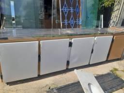 Balcão seco de 5 portas c/tampa de Inox