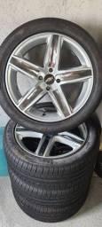 Título do anúncio: 4 pneu 225/45/17 pirelli p7 cinturato com roda mak italy