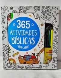 Livro infantil 365 atividades bíblicas + canetinhas