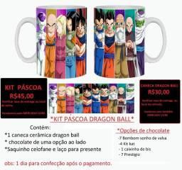Kit caneca dragon ball + chocolate pascoa goku vegeta anime