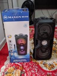 Caixa de som Bluetooth alta potência, com microfone, entrada USB, rádio FM