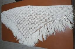 Título do anúncio: Xale de Crochê Branco<br>2,10x0,82m<br>Importado de Portugal