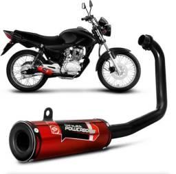 Escapamento Moto Esportivo Cg Titan 150 Es Ks 2009 A 2012  Vermelho