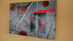 Quadro abstrato pintura em tela