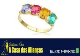 Meia alianças ouro 18 K com pedras coloridas de Zircônias