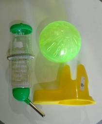 Kit 3x1 hamster: esfera, Bebedouro, cocho casa