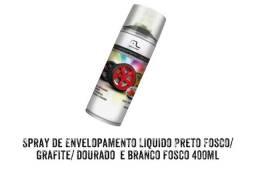 SPRAY DE ENVELOPAMENTO LÍQUIDO PRETO FOSCO / GRAFITE / DOURADO / BRANCO FOSCO 400 ML