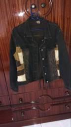 Jaqueta jeans bordado a couro