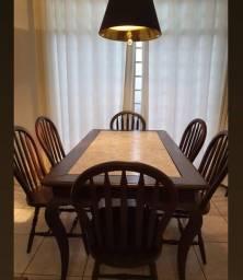 BLACK FRIDAY Mesa em madeira com tampo em mármore + 6 cadeiras