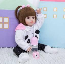 Boneca Bebe Realista Reborn Panda Completa Mamadeira Mais Barata Linda