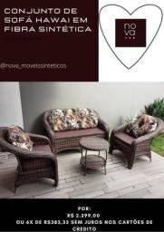 Conjunto de sofá décor em fibra sintética