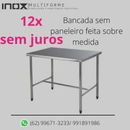 Mesa Aço Inox Industrial 1,20x0,70x0,90 Metros