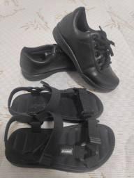 Tênis escolar preto e sandália ryder