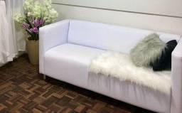 Sofa e poltrona de couro branco