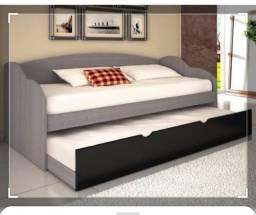 Cama solteiro estilo sofá com cama auxiliar e 1 colchão