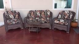 Conjunto de sofá Málaga em fibra sintética