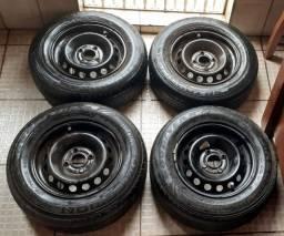"""Rodas 13""""(originais) Renault 4x100 + Pneus 175/70/r13(meia vida)"""