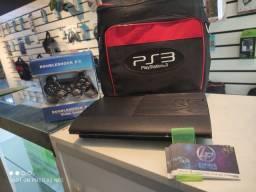PS3 super slim destravado lotado de jogos e garantia loja