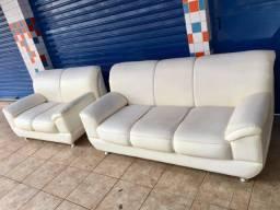 Título do anúncio: Jogo de sofá 3 e 2 lugares Courino Branco