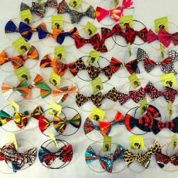 Brinco de Gravata borboleta feito com tecido africano